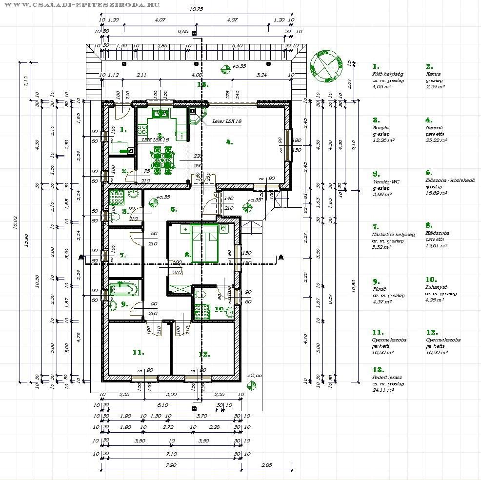 Oldalhatáron álló családi ház tervek